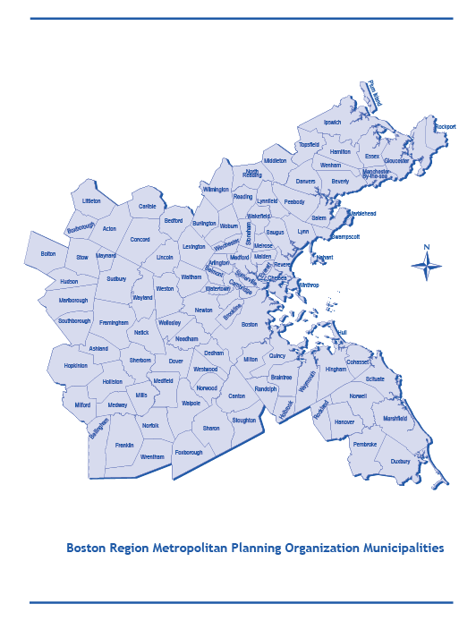 This is a map of the cities and towns in the Boston Region. There are 101 cities and towns within the Boston Region Metropolitan Planning Organization's planning area.